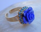 Cobalt blue ring, Cocktail ring, Blue rose ring adjustable, Something blue ring gift for bride
