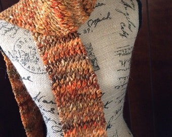 Hand Knitted Wool Scarf, Hand Spun Wool, Winter Knit Scarf