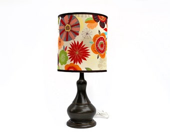 Wheel-thrown Lamp with Floral Shade