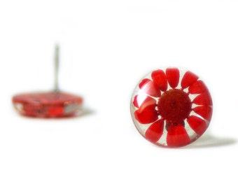 Red Flower Earrings- Real Flower Earrings- Flower Jewelry- Resin Jewelry- Post Earrings- Stud Earrings