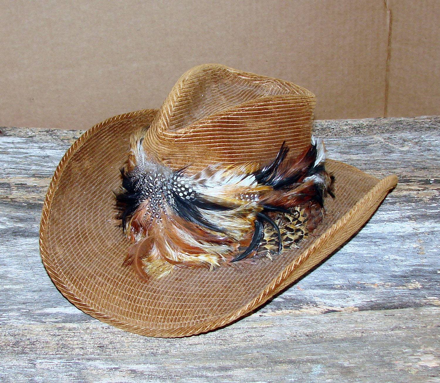 Cowboy Hat Corduroy Urban Cowboy Style Great Feather Hat Ban So 80s Chic  Size 7 ce62ce06256