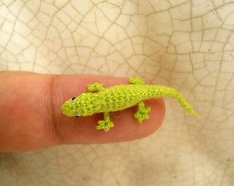 Micro Amigurumi Lizard - Tiny Crochet Mini Gekko Miniature Stuffed Animal - Made To Order
