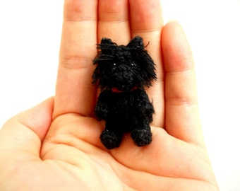 Black Cairn Terrier - Crochet Miniature Dog Stuffed Animals - Made To Order