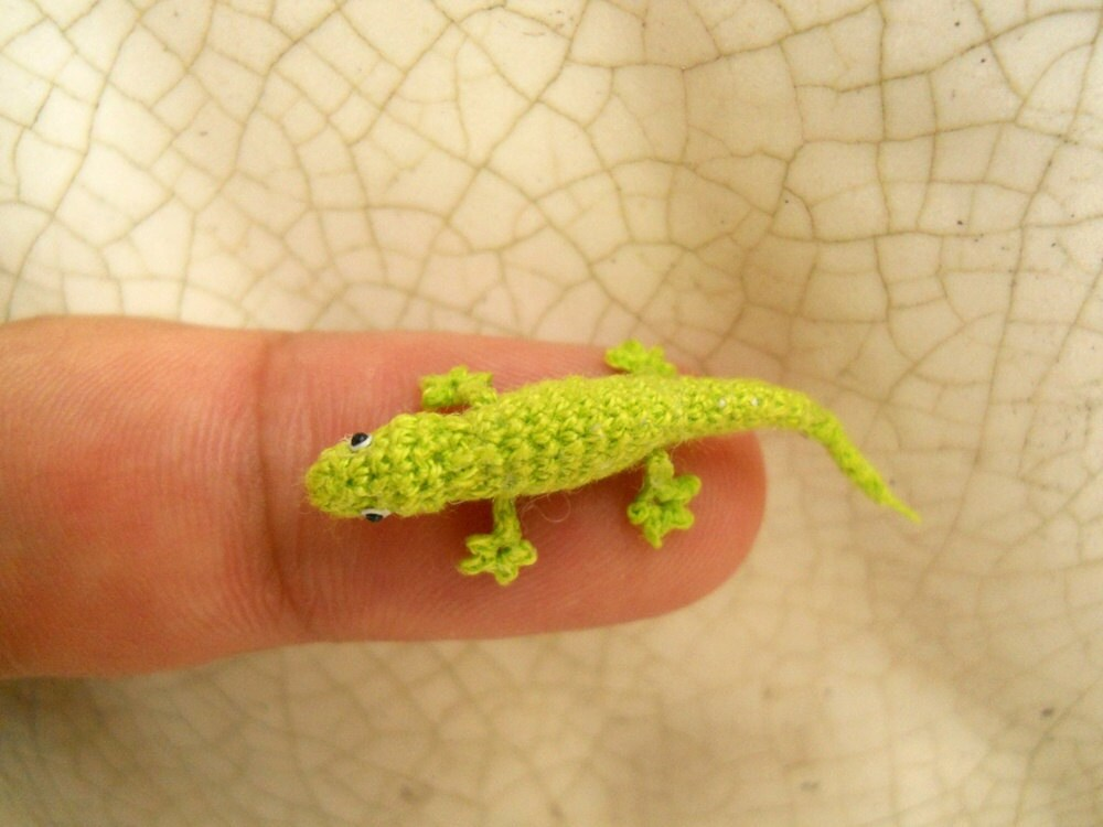 Micro Amigurumi Lizard Tiny Crochet Mini Gekko Miniature
