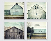 Teal Barn Print or Canvas Wrap Set, Farmhouse Decor, Aqua Barn Art, Barn Photos, Teal Rustic Home Decor, Farmhouse Decor, Set of 4 Prints.