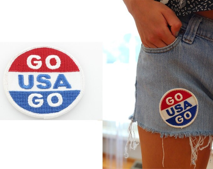 Vintage Patch 4th of July GO USA GO Unused Patch | Red White & Blue Travel Sew On Applique Jacket Jeans Hat Shorts Backpack | Olympics