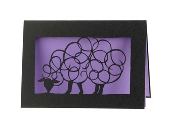 Grazing sheep - laser cut card
