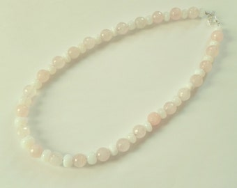 Stunning white african opal and faceted rose quartz gemstone necklace. Opal necklace, pastel gemstone necklace. Pink necklace