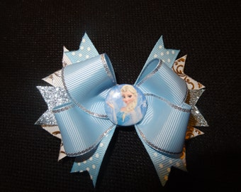 Disney Frozen inspired hairbow, Elsa 4 inch boutique bow