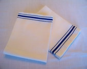 Vintage Blue Striped Kitchen Towels Dish Drying Towels