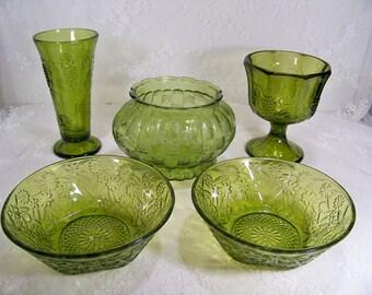 Vintage Green Decorative Glass Grapes and Ivy Set of 5 Vase Bowl Planter