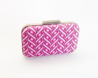 fuchsia clutch, fuchsia bridesmaids gift, bridal accessories, pink bridesmaids, hot pink minaudiere, fuchsia weddings, mint and hot pink