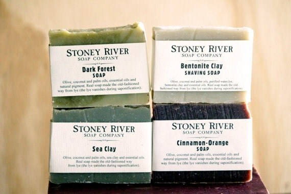 Men Gift set - 4 Handmade  Natural  Homemade  Soap -   labeled or unlabeled 4-4.5 oz   bar