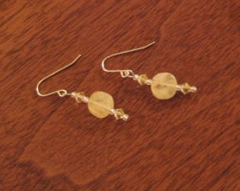 Honey Jade & Crystal Earrings (E1021)