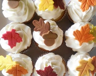 Fondant cupcake toppers--fall leaves and acorns