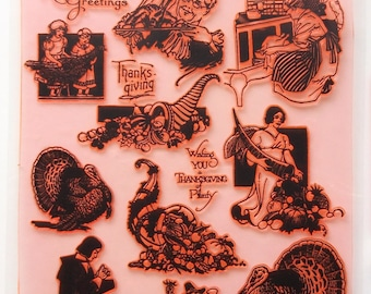"""Thanksgiving Day / Clear stamps large sheet (7""""x10"""") UM FLONZ 403-102"""