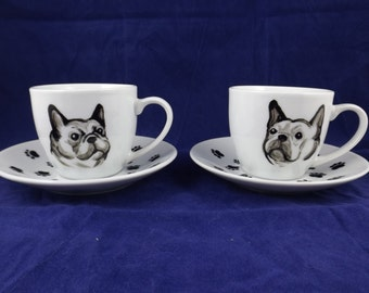 Set of 2 french bulldog espresso cups and saucers