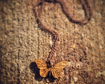 Wood Butterfly Chain Necklace