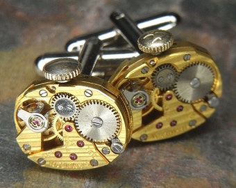 Steampunk Cufflinks Cuff Links - TORCH SOLDERED - Antique GOLD Hamilton Watch Movements w/ Pin Stripes & Crowns - Birthday, Wedding Gift