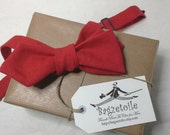 """Diamond point Bow tie,  mans, red linen - self tie - adjustable to collar size 14 to 18 1/2"""" -  just bow ties for men by Bagzetoile"""