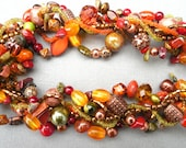 Autumn necklace, Thanksgiving necklace, gemstone, chunky, Green, Orange, Copper, multistrand, statement, woven, twisted: Autumn Treasure