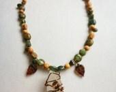 RESERVED for Lavette //Crystal Quartz Woodland Vine Necklace// Quartz Crystal, Bird, Green, Forest, Nature, Gift, Holiday