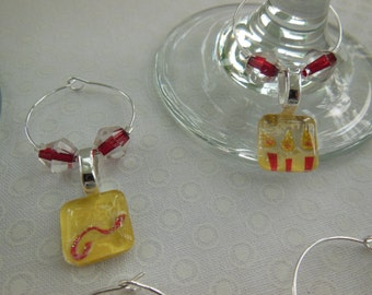 Burgundy Red and Yellow Wine Charms - Set of Six - Glitter Glass Wine Charms - Hostess Gift - House Warming Gift - Entertaining - Party Time