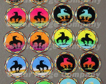 "1"" Epoxy Stickers Native End of the Trail Set Bottle Cap Beading"