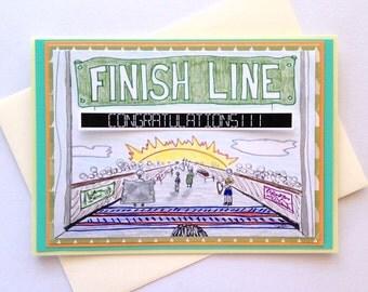 Running Congratulations Finish Line Handmade Greeting Card - Congrats for Marathon, Half-marathon Runners - Personalized Option Available