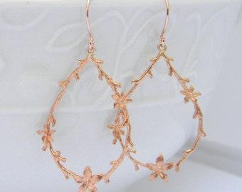 Rose Gold Earrings,Twig Earrings, Floral Branch Earrings, Rose Gold Bridesmaid Earrings, Dangle Earrings, Woodland Earrings