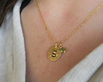 Gold Necklace / Gold  Initial Necklace / Personalized Necklace / Dainty Gold Necklace / Birthstone Necklace / Bridesmaid Necklace / Gift