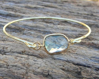 Gold Bangle Bracelet / Aquamarine Bracelet / Bridesmaid Gift / Bridesmaid Jewelry / Bridesmaid Bracelet / Christmas Gift / March Birthstone