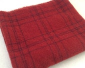 Wool fabric for rug hooking and appliqué, Ruby Red Plaid, Select a Size, J920