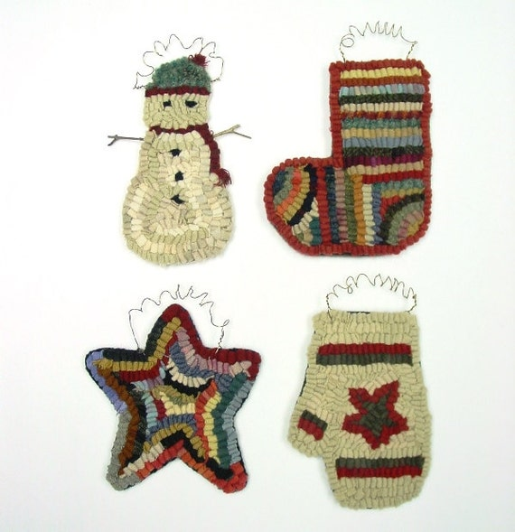 Rug Hooking PATTERN, Four Christmas Ornaments, J859, Star, Mitten, Stocking, Snowman, Primitive Hooked Ornaments, DIY