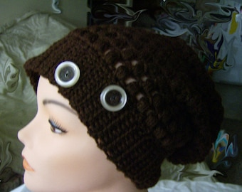 Ladies Womens Slouch Hat With Buttons Crochet Slouch Hat Warm Winter Hat