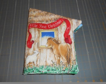 The First Christmas Donkey Manger Quiet Soft Fabric Baby Toddler Story Book Handmade Ready to Read