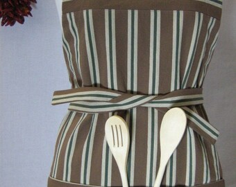 Striped Apron, His & Hers Apron, Apron with Pocket, Striped Apron, Housewarming Gift, Brown Cream Forest Green, Gift under 50