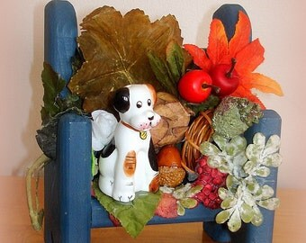 Autumn Fall Table Decor Centerpiece Wall Hanging Ceramic Spotted Dog on Blue Wood Bench with Built In      Hanging Hook