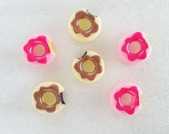 6pcs - Glazed Donuts Mix Decoden Cabochon (18mm) DN10004
