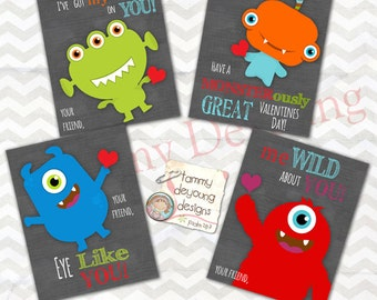 Monster Valentine Cards for kids* Boys Valentines* DIY Printable Valentine for classmates, silly monsters, personalization extra