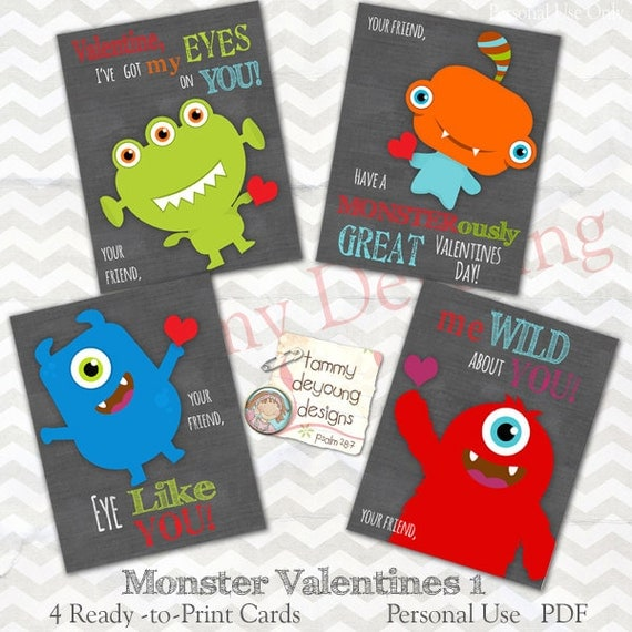 Items similar to Monster Valentine Cards for kids Boys Valentines – Boys Valentine Cards