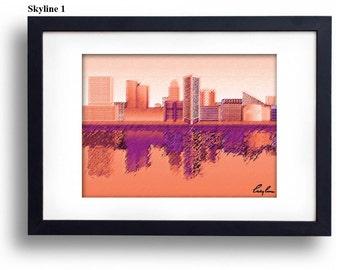 Orange and Purple Baltimore Skyline