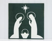 Rustic Nativity Christmas Decoration Nativity Painting Nativity Christmas Mantle Wall Decor Christmas Artwork Dark Green