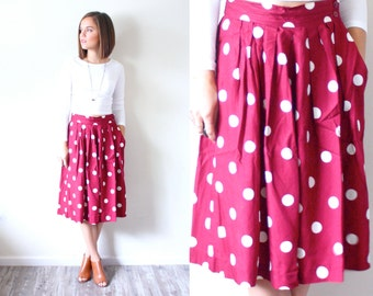Vintage BOHO polka dot maroon red skirt // red skirt // large polka dots // summer pants // gaucho pants // long shorts // summer spring