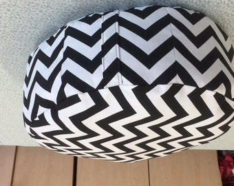 Black and  White Chevron Ottoman Round Pouf Living Room Nursery Room With Filling Included