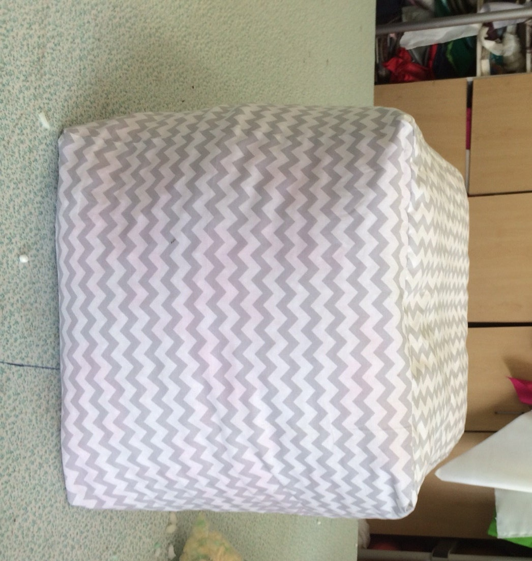 light gray and white chevron ottoman pouf cover room
