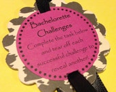 HIDDEN DARES - Girl's Night Out - Pink Bachelorette Party Game Bracelets - Leopard Print Jewelry Decorations - customizable for Birthdays