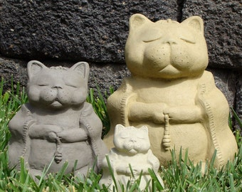 MEDITATING CAT - Choose Your Size & Color!!! Solid Cement Concrete Stone Garden Outdoor Statue Sculpture Art - Hand-Crafted in the U.S.A.