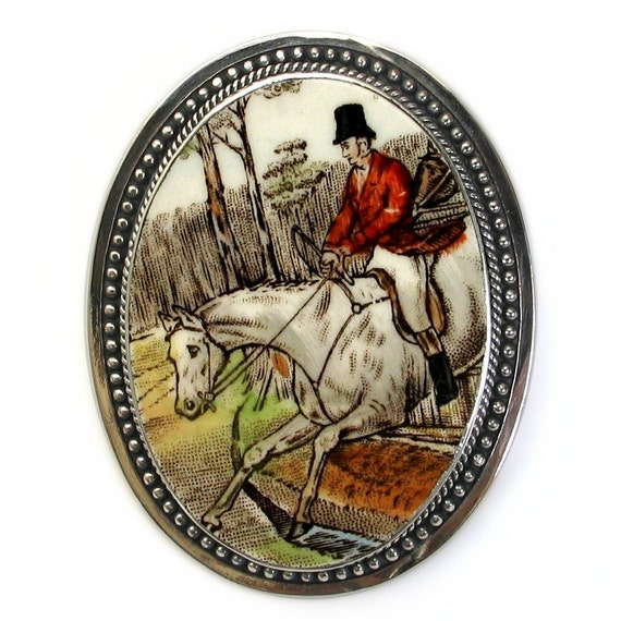 Broken China Jewelry Copeland Spode The Hunt White Horse and Rider Large Sterling Pin Pendant