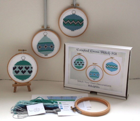Cross Stitch Kit, Christmas Baubles, Hoop Ornaments. Modern Cross Stitch Design By Ruth Caig